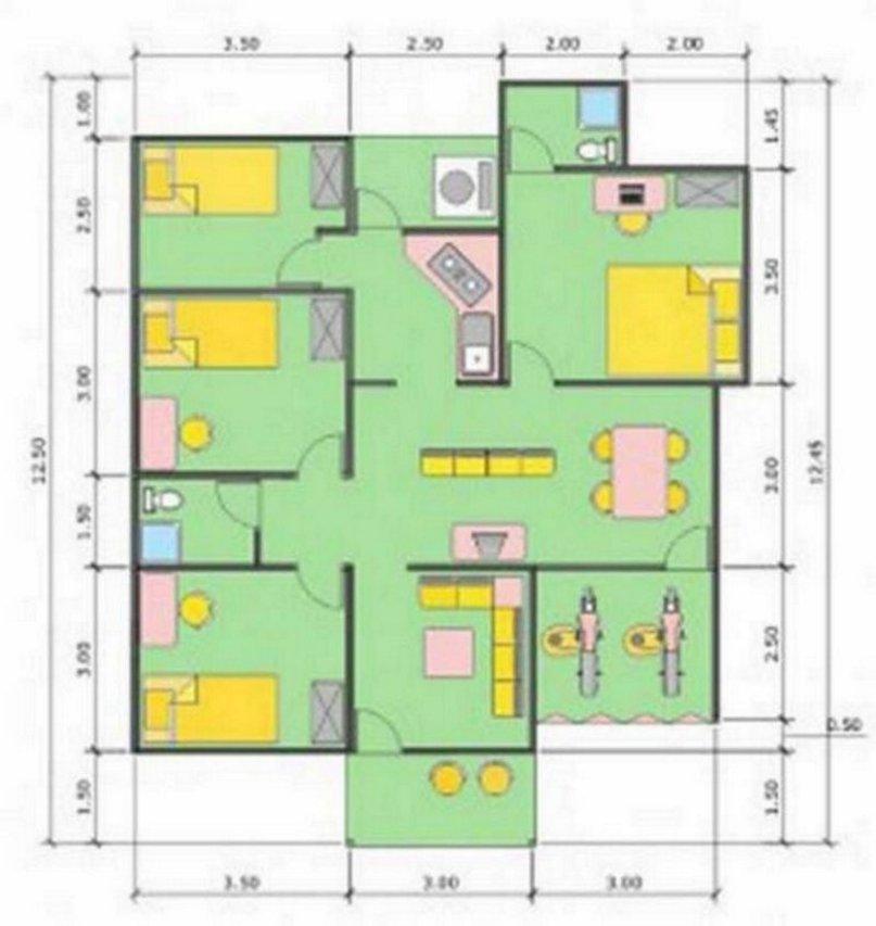 denah rumah ukuran 10x12 m modern