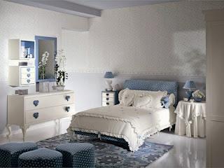 dormitorio niña celeste blanco