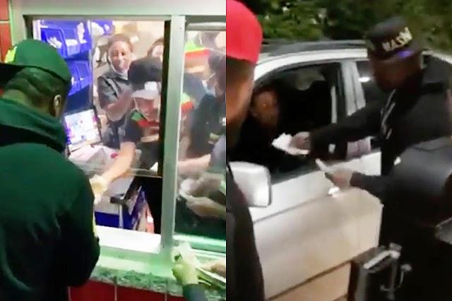 50 Cent se acerca a Burger King, le da dinero a cada trabajador y persona.