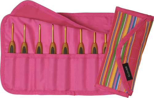 Clover soft touch gift set with pink case and 8 crochet hooks
