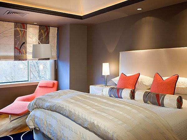 Dormitorio color naranja marrón