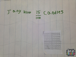 Showing understanding of fractions using a 100 dot array.
