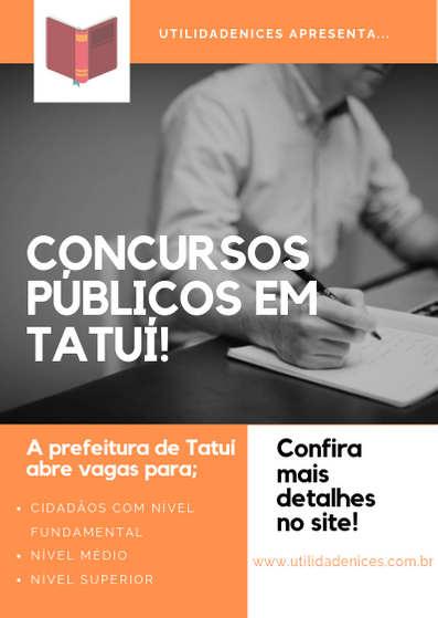 Prefeitura de Tatuí abre concurso público para