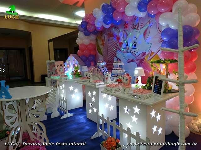Mesa temática Gata Marie - Festa decorada de aniversário