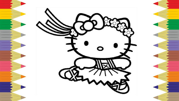Hello Kitty Ballerina Coloring Book Pages For Kids Fun Art Creative  Activities Video