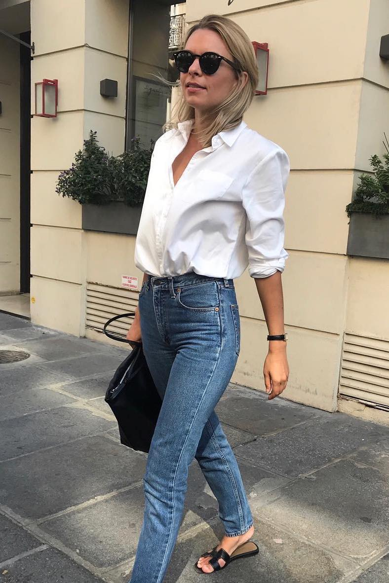 French-Girl Classic Spring Outfit Idea — White Button-Down Shirt, Straight-Leg Jeans, and Hermes Black Flat Sandals
