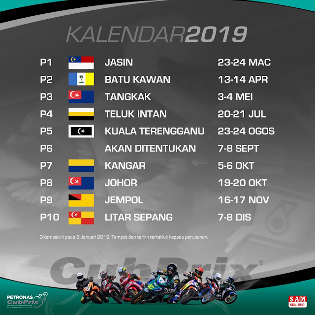 Jadual dan Keputusan Pelumbaan Cub Prix Malaysia 2019