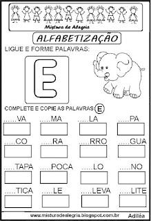 Atividades de alfabetização letra E