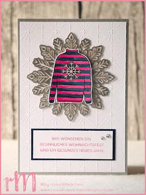 Stampin' Up! rosa Mädchen Kulmbach: Weihnachtskarte mit Metallic Schneeflocken, Christmas Sweaters und Weihnachten daheim