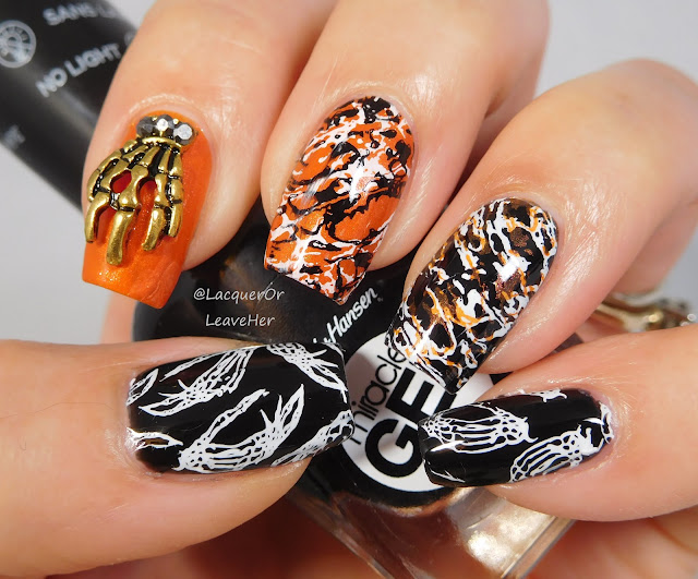 Dixie Plates Halloween 2017 over Sally Hansen Blacky O and Moonflower Polish Atardecer en el Morro