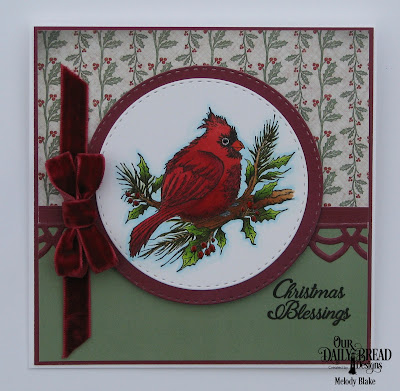 Our Daily Bread Designs Stamp Set: Winter Cardinal, Custom Dies: Double Stitched Circles,  Deco Border,  Paper Collections: Christmas 2017, Christmas Coordinating 2015