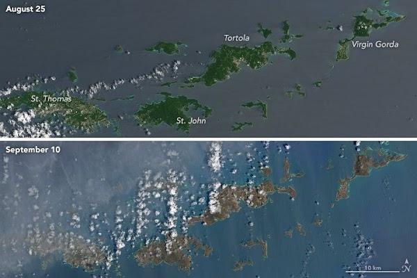 NASA muestran cómo Irma cambió las islas caribeñas