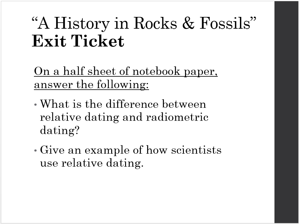 what is the difference between relative and radiometric dating of fossils