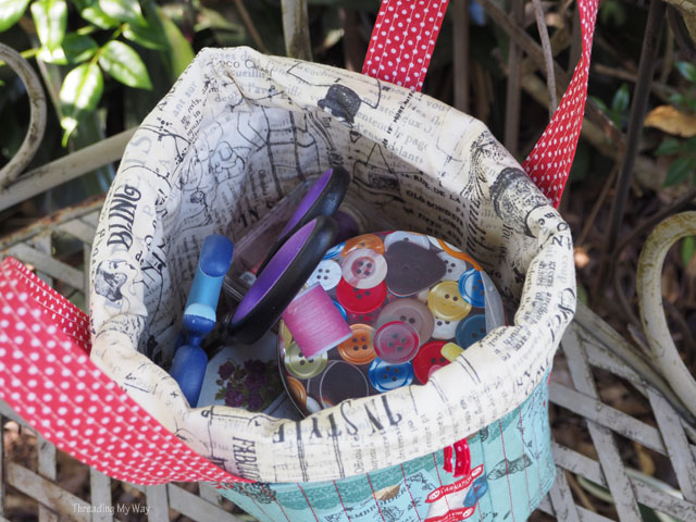 Threading My Way: Fabric Sewing Basket with a Drawstring Top