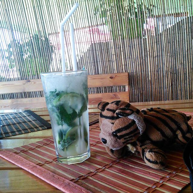 Mojito koktél plüss tigrissel a gyoroki strandon