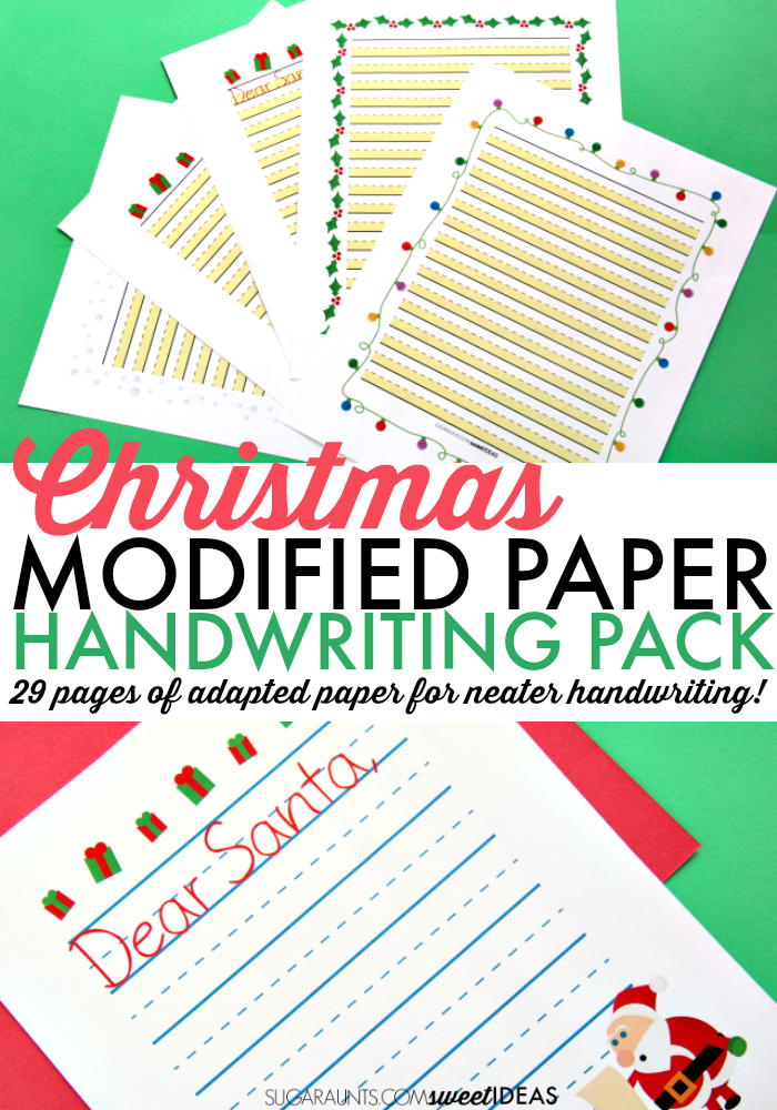 Try this modified paper Christmas handwriting pack for helping kids work on handwriting this year.