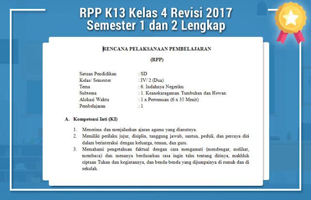 RPP K13 Kelas 4 Revisi 2017 Semester 1 dan 2 Lengkap