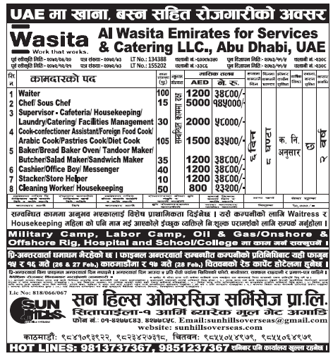 Jobs in UAE for Nepali, Salary Rs 1,45,000