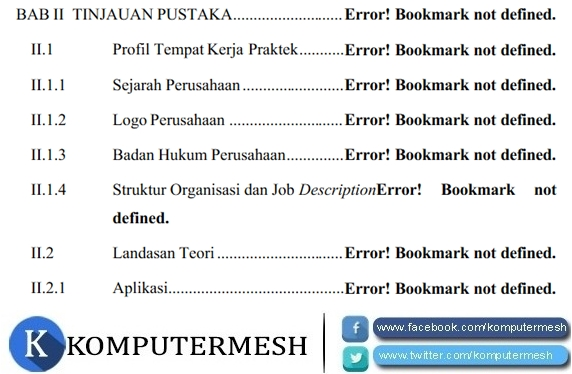 Cara Memperbaiki Daftar Isi Error Bookmark Not Defined Word (Solved)