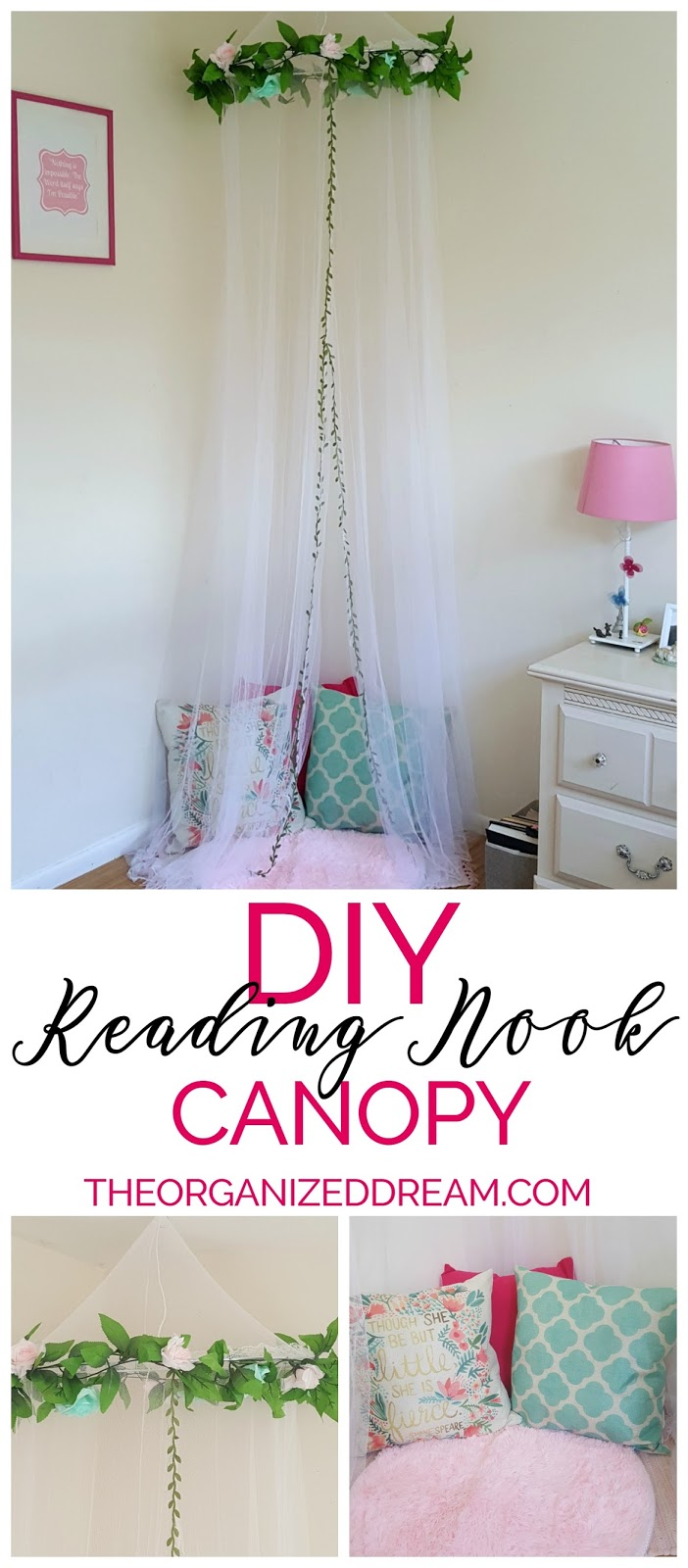 All together this project didnu0027t cost that much and my daughter now has a designated place to curl up and read a book. This little nook has become her new ...  sc 1 st  The Organized Dream & DIY Reading Nook Canopy - The Organized Dream