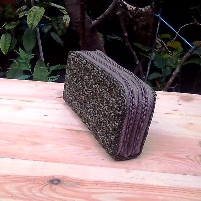 Dompet Rajut Model Kotak Double Kantong - Hijau Lumut