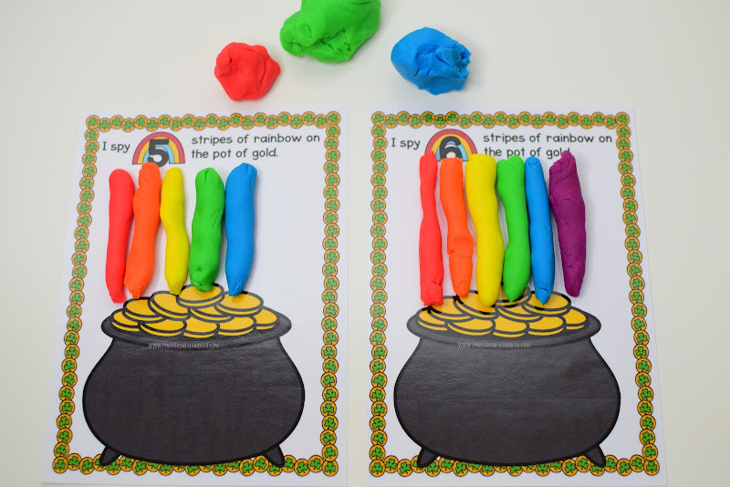 St. Patrick's Day Themed Dough Counting Mats