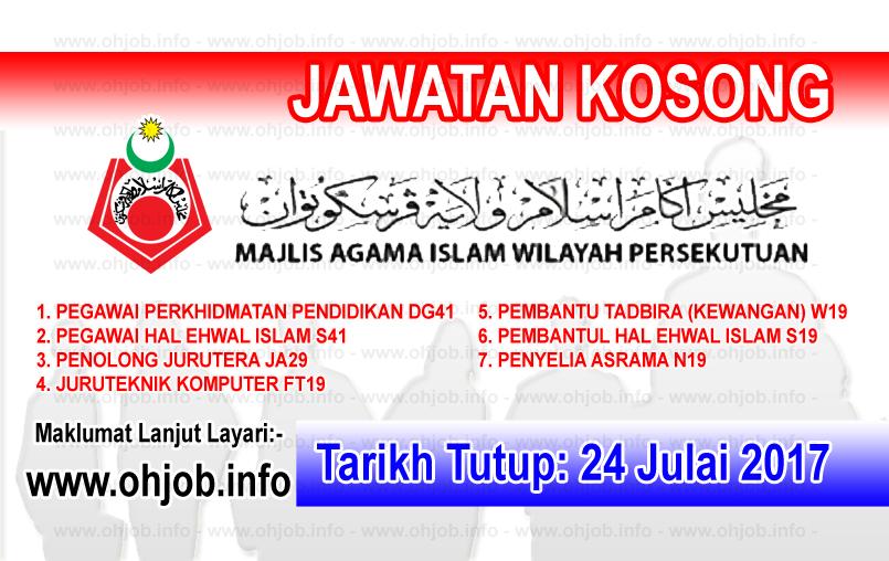 Jawatan Kerja Kosong Majlis Agama Islam Wilayah Persekutuan - MAIWP logo www.ohjob.info julai 2017