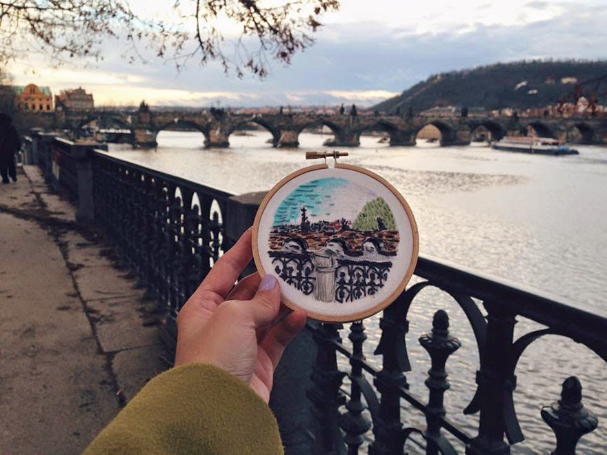 Prague, Charles bridge - Sew Wanderlust: Designer Embroiders Her Travels On-Site Instead Of Taking Photos