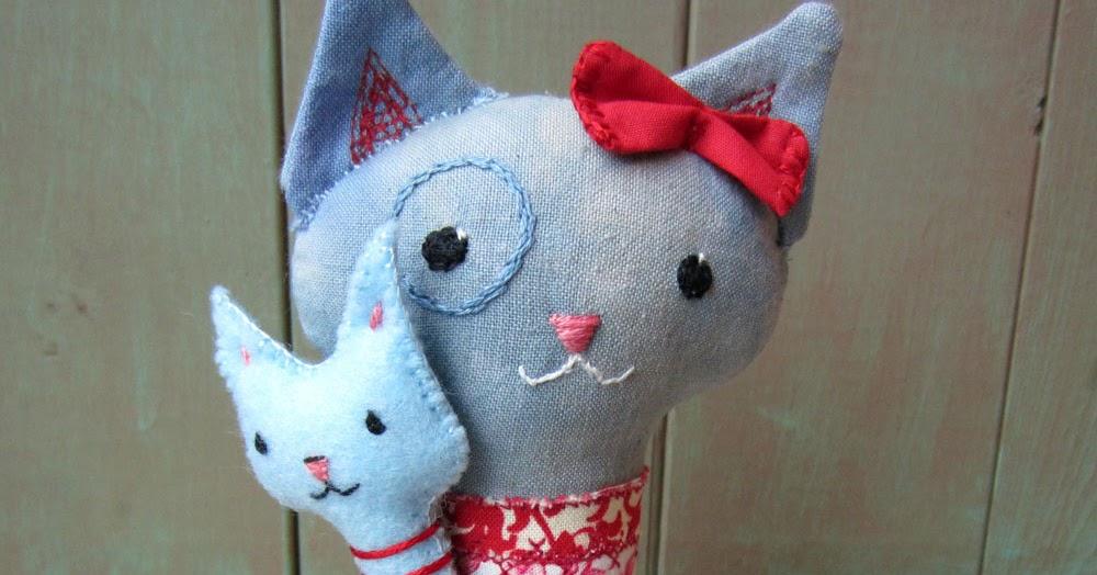 Peaceofpi Studio Cat And Kitten Soft Sculpture Doll