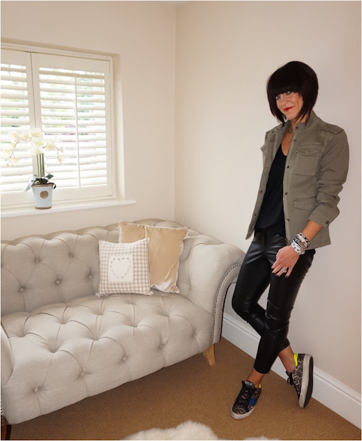 My Midlife Fashion, Hush military jacket, coco bay hipanema tahiti bracelet, french connection atlantic faux leather trousers, golden goose superstar trainers, deep v zara t shirt