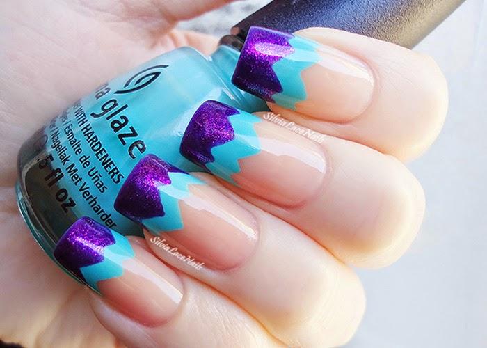 Aqua purple chevron french tips