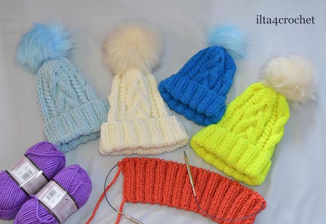 wełna czapka druty zima handmade warkocze