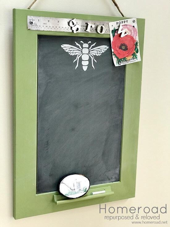 Green chalkboard from cabinet door