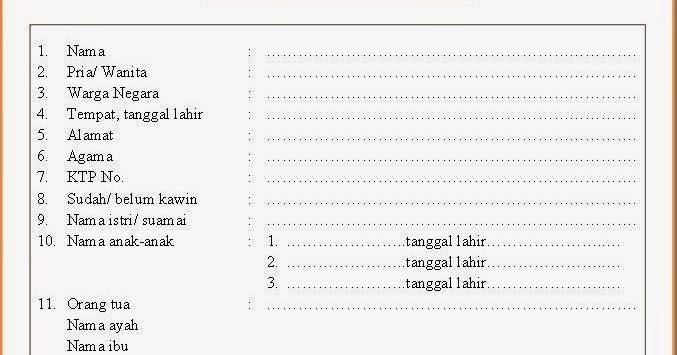 Contoh Daftar Riwayat Hidup Porosilmu Com