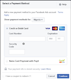 How To Pay For Facebook Ads in Naira with PayU, How To Pay For Facebook Ads in Naira with PayU payments options