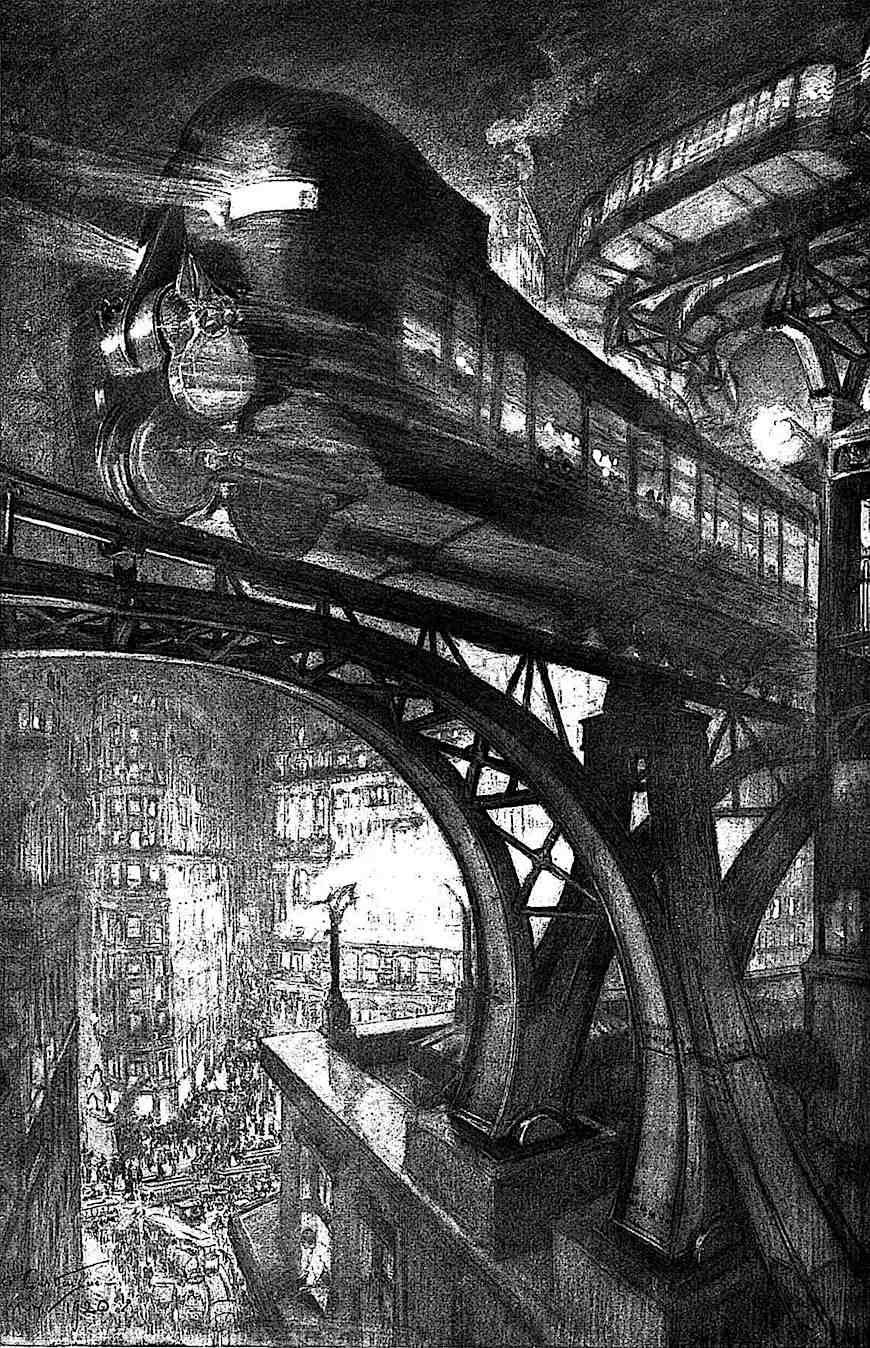 an illustration of 1907 retrofuture city transit