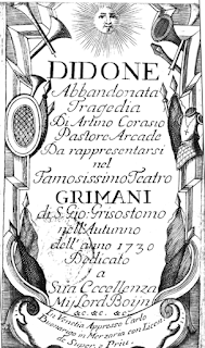 The title page of Sarro's opera Didone Abbandonata