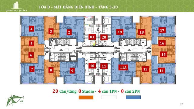 Mặt bằng tầng 3-30 - tháp B - Green Bay Garden