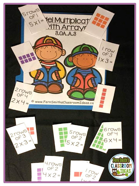 Fern Smith's Classroom Ideas Model Multiplication with Arrays - Quick and Easy to Prep Center & Printables at TeacherspayTeachers.