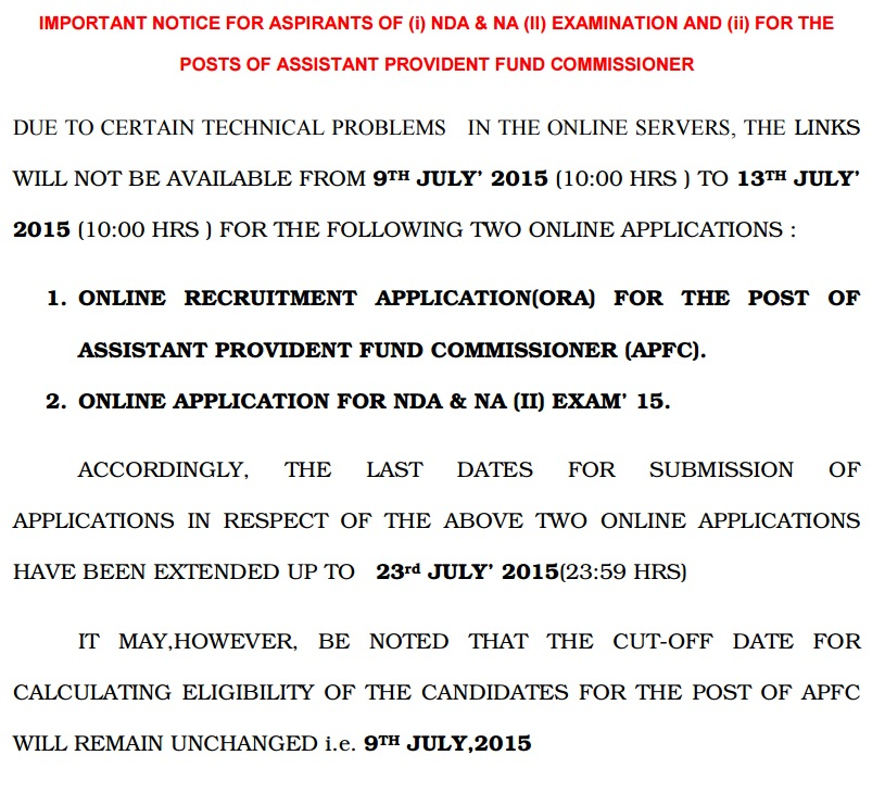 UPSC Notification for NDA & APFC Exam 2015
