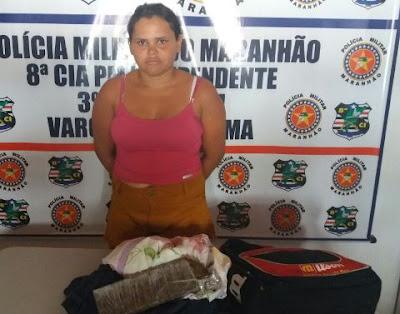 Mulher é presa com 1 kg de maconha em Vargem Grande