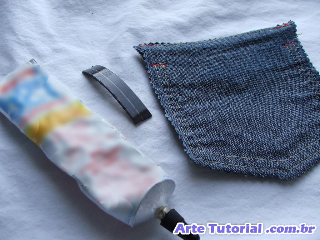 Ímã de geladeira de bolso jeans para guardar bloco de notas