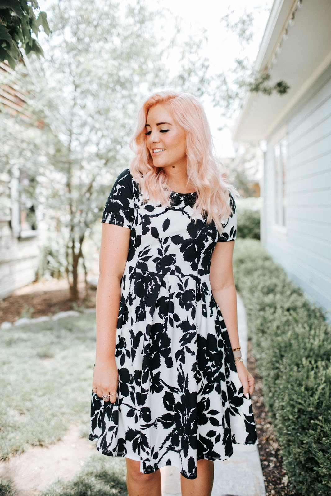 Black and White Dress, Modest Dress, Pink Hair