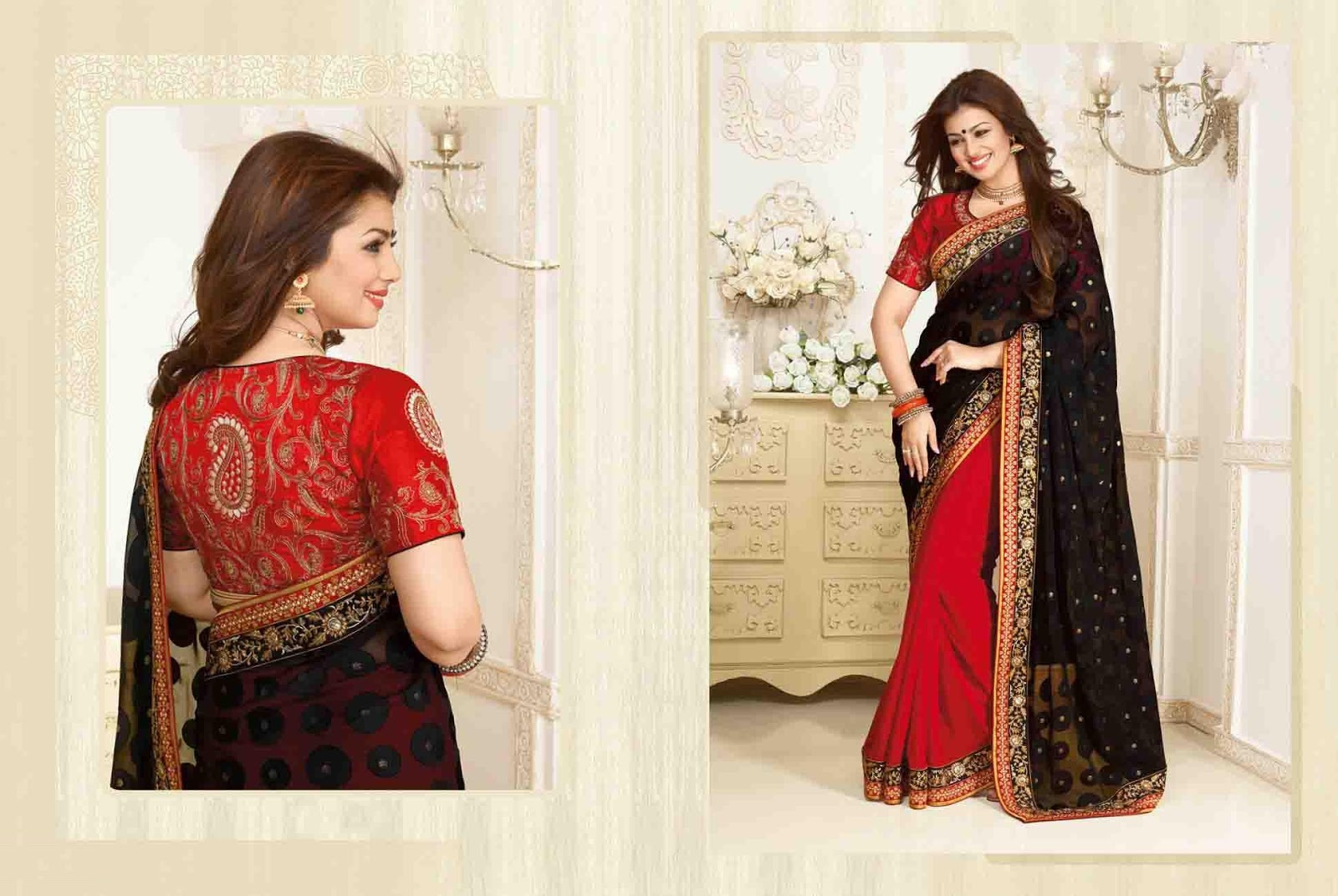 Resham Work Red & Black Brasso Saree With Raw Silk Blouse