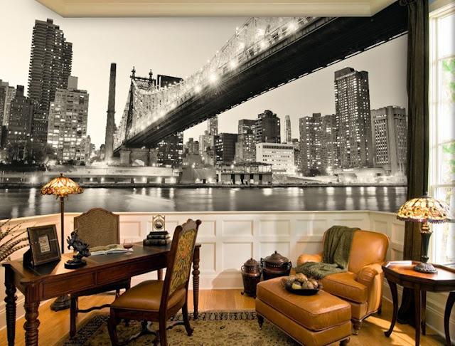 New York City tapet svart vit Manhattan fototapet Brooklyn Bridge