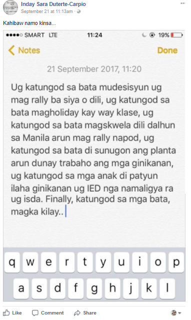 sara duterte nagalit matapos isali ang mga bata sa rally