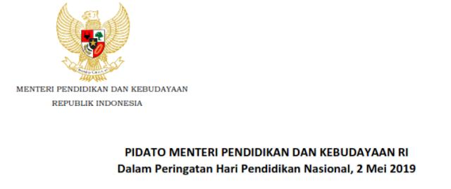 Pidato Kemendikbud Dalam Hardiknas 2019