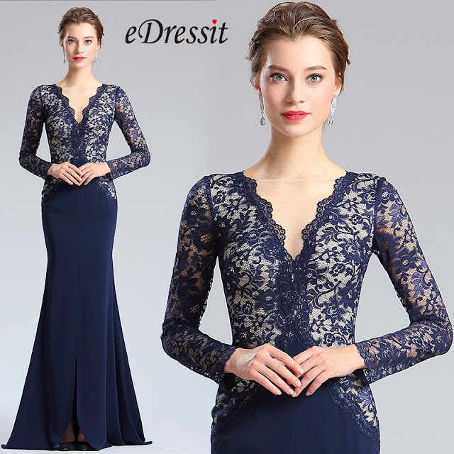 Blue V-cut Neckline Lace slit Prom Evening Dress