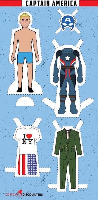 Capitán América: Muñeco Recortable para Imprimir Gratis.