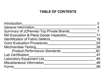 Quality manual content list